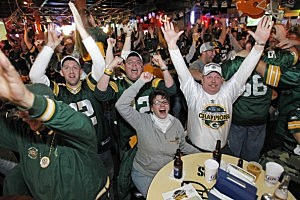 Green Bay Packers Fans Watch Super Bowl XLV