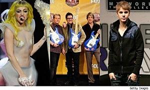 Lady Gaga, Rascall Flatts, Justin Bieber