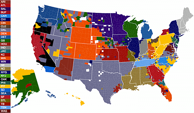 Favorite NFL team county map