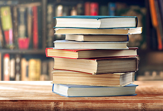 stack of books on the shelf