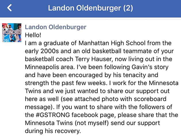 Screenshot of Landon Oldenburger Facebook page
