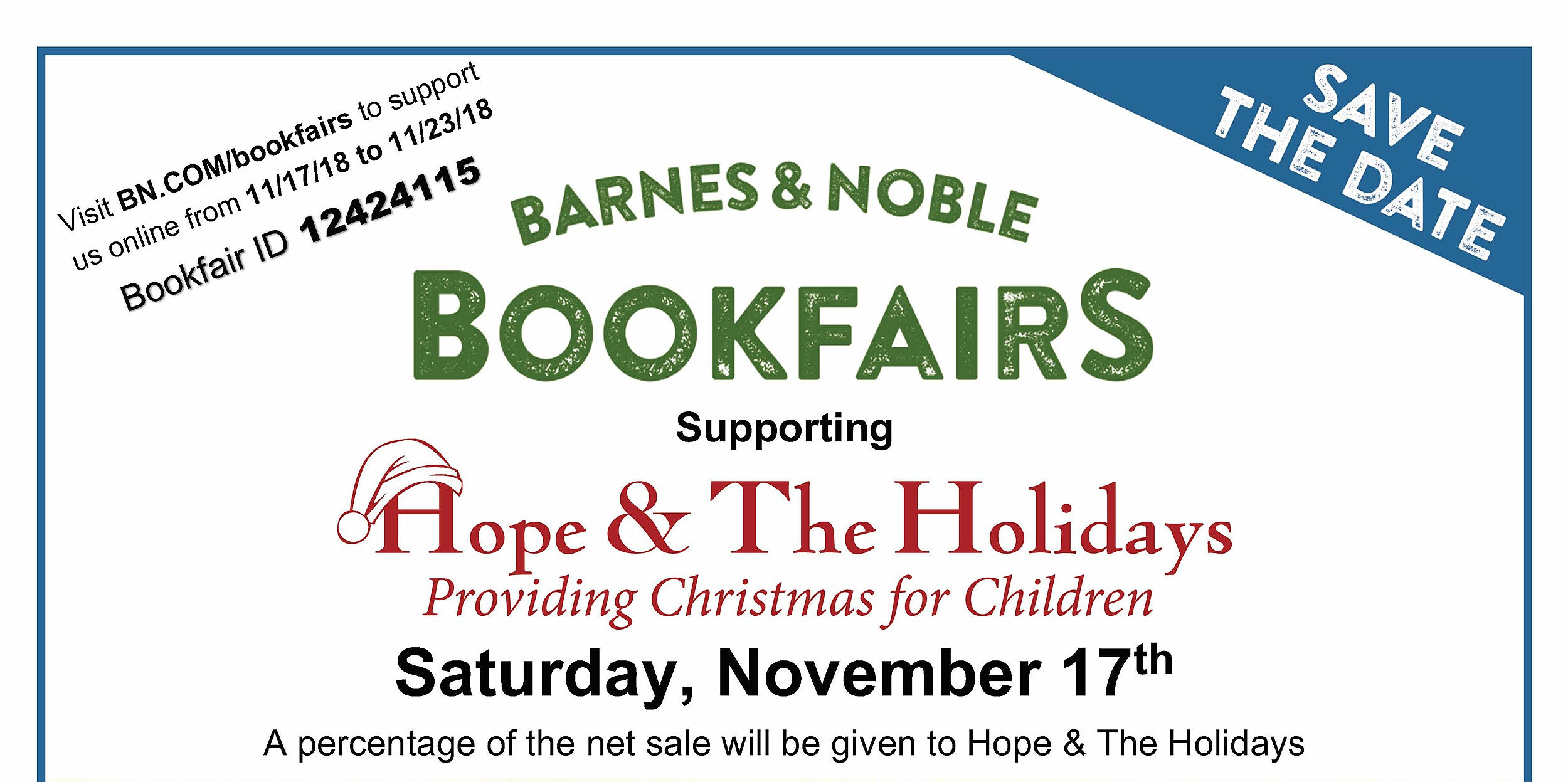 Hope & The Holidays Bookfair Day at Barnes & Noble and Toy Drive